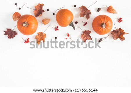 Autumn composition. Pumpkins, dried leaves on white background. Autumn, fall, halloween concept. Flat lay, top view, copy space - Shutterstock ID 1176556144