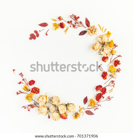 Autumn composition. Wreath made of autumn dried leaves and flowers. Flat lay, top view, copy space, square #701371906
