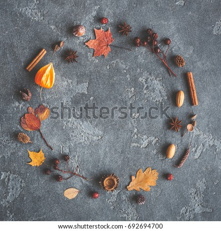 Autumn composition. Wreath made of autumn leaves, cinnamon sticks, anise stars, physalis flowers, pine cones on black background. Flat lay, top view, copy space