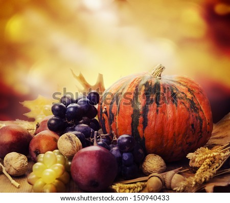 Autumn concept with seasonal fruits and vegetables #150940433