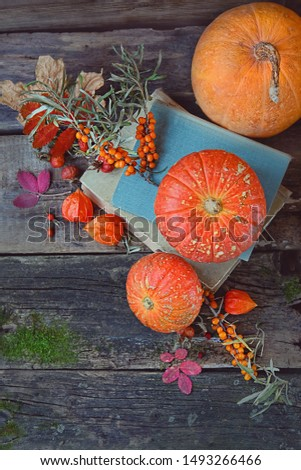 autumn cozy still life with pumpkin. orange pumpkin, autumn leaves, old books on rustic wooden background. autumn atmosphere composition. fall harvest season, thanksgiving holiday, Halloween concept #1493266466