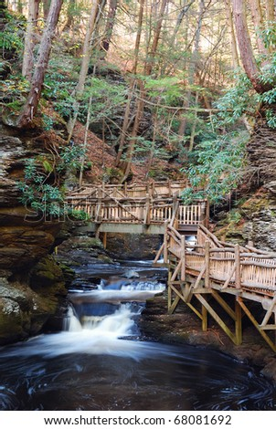 Autumn creek with hiking trails and foliage in forest. From Bushkill Falls, Pennsylvania.