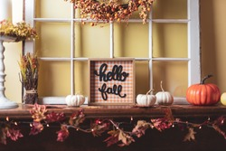 Autumn decor - Hello Fall on the fireplace mantel