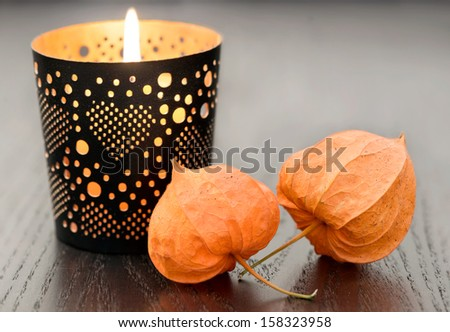 Autumn decoration with candle and Physalis alkekengi on wood