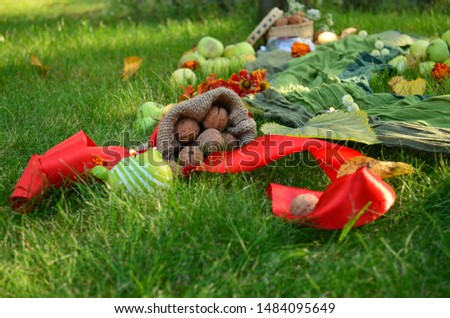 Autumn decore for the seasonal decorations with harvest and candles #1484095649