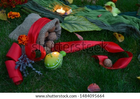Autumn decore for the seasonal decorations with harvest and candles #1484095664