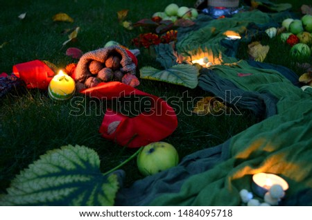 Autumn decore for the seasonal decorations with harvest and candles #1484095718
