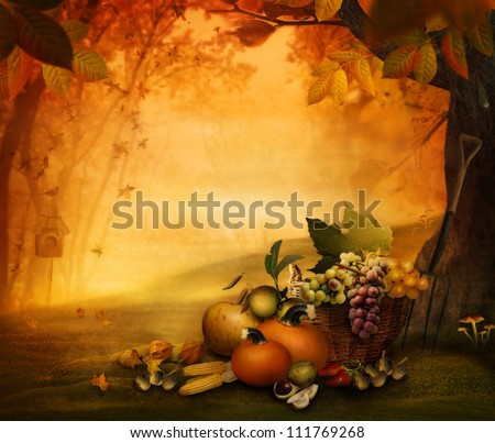 Autumn design - Season fruit in forest. Autumn valley with pumpkins, grapes, mushrooms, vor,acorns, chestnut. Falling leaves and bird house in he background.   Fall background concept with copyspace.