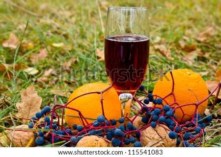 autumn dessert wine and a fruits