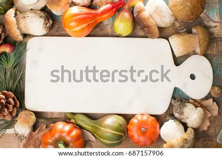 Autumn dinner concept - cutting board with copy space - fresh porcini boletus oak muchrooms, high quality,restaurant menu, a la carte Stok fotoğraf ©