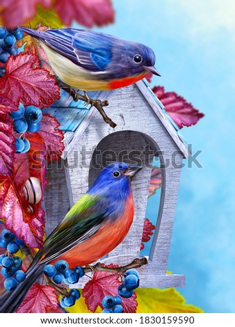 Autumn elegant background, titmouse bird sitting on a branch near an abandoned birdhouse, autumn bright red leaves, blue berries, 3D rendering, mixed media Stockfoto ©