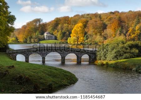 Autumn Fall Colour, Stourhead, Wiltshire, England Stock photo ©