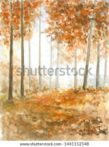 Autumn Fall Landscape Watercolor illustration of Orange Trees for text or greeting card