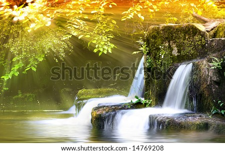 Autumn Falls, light shafts burst through forest onto wide angle long exposure capture of Waterfalls #14769208