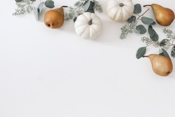 Autumn floral frame, web banner. Garland of berry eucalyptus leaves, branches, pear fruit and white pumpkins isolated on white table background. Fall, Thanksgiving design. Flat lay, top view.