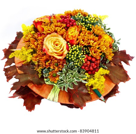 autumn flower composition isolated on white background