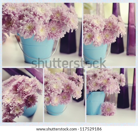 Autumn flowers in a pot on the window of purple color in different images