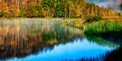 Autumn fog, Big Ditch Lake, Cowen, Webster County, West Virginia, USA