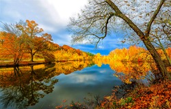 Autumn foliage is reflected in the river. Autumn river reflection. Autumn river landscape. River in autumn