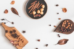 Autumn food background. Nuts, cinnamon sticks, anise stars, berries, dried flowers and leaves. Autumn, fall concept. Flat lay, top view