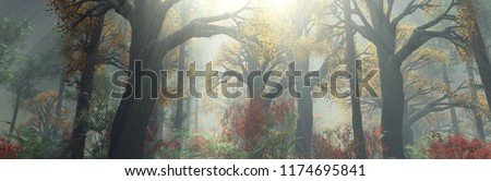 autumn forest in the morning in the fog. autumn trees in the fog. 3d rendering