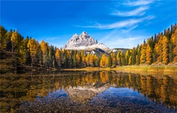 Autumn forest lake mountain peak landscape. Autumn forest lake in mountains. Forest lake in autumn