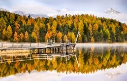 Autumn forest lake pier landscape. Lake pier in autumn forest. Autumn forest lake view. Autumn lake pier view