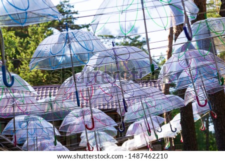 Autumn forest, park, street on which many transparent umbrellas hang against the sky. #1487462210