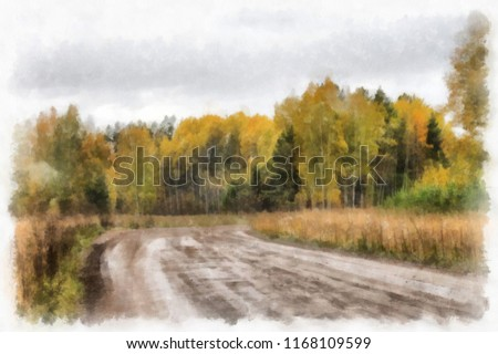 Autumn forest road. watercolor. Digital painting