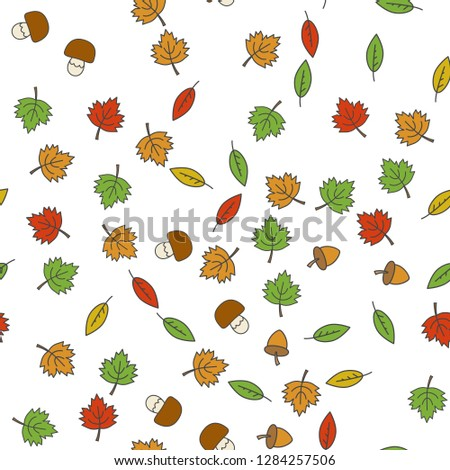 Autumn forest seamless pattern. Colorful tree leaves, mushrooms and acorns flat raster on white background. Autumn defoliation and harvest concept illustration for wrapping paper, print on fabric