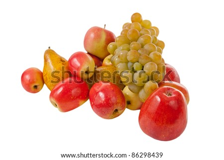 autumn fruits harvest isolated on white background