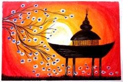 Autumn Full moon Spring flower Painting Art, Sunset spring season Drawing, silhouette scenery selective focus with blur