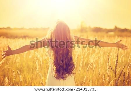 autumn girl enjoying nature on...