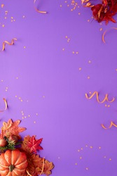 Autumn halloween decoration purple background concept design Party