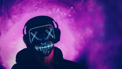 autumn Halloween party, incognito wearing headphones and a glowing mask on a neon purple background