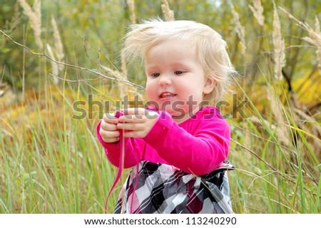 autumn happy little girl