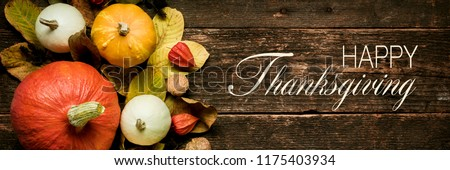 Autumn Harvest and Holiday still life. Happy Thanksgiving Banner. Selection of various pumpkins on dark wooden background. Autumn vegetables and seasonal decorations.  #1175403934