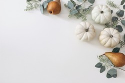 Autumn harvest frame, web banner. Pear fruit and white pumpkins  isolated on white table background. Fall, Thanksgiving pattern. Flat lay, top view. Garden crop.