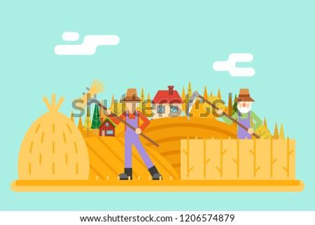 Autumn hay peasant harvestman harvest Icon Village Hills Field Landscape Background Flat Design  Illustration