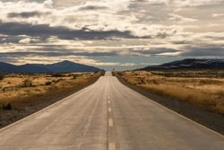 Autumn highway background picture, traveling in Chile, South America. Beautiful natural scenery.