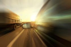 Autumn highway travel cars blur