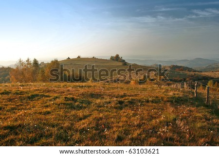 stock photo   autumn hill in sunset light