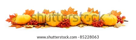 Autumn horizontal edge border of pumpkins and leaves