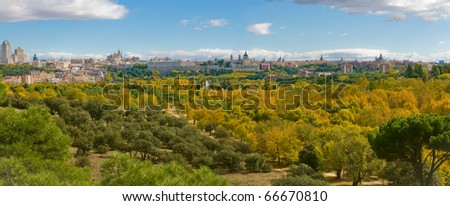 Autumn in Casa de Campo Park, with Madrid Skyline at Background. Madrid, Spain