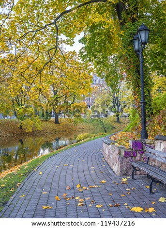 Autumn in central park of Riga, Latvia