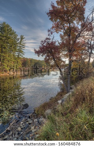 Autumn in Harriman State Park, New York State by lake