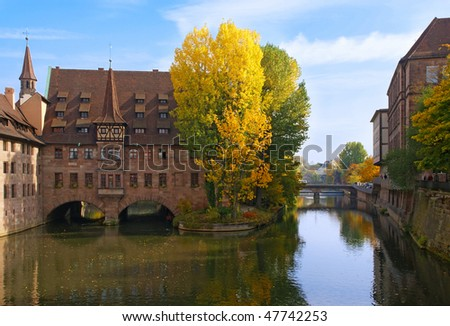 Autumn in Nuremberg. Nuremberg Hospital, Bavaria, Germany
