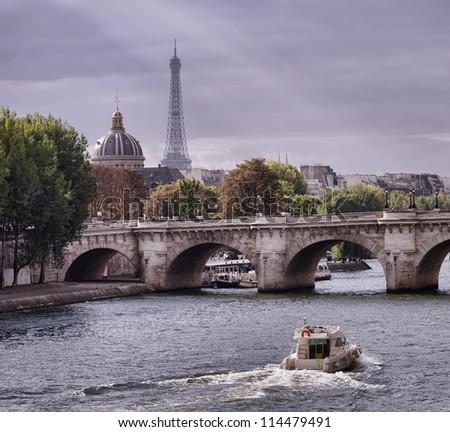 autumn in Paris, Seine river and Eiffel tower