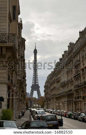 Autumn in Paris. Street with a view to Eiffel Tower.