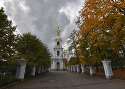 Autumn in Sankt-Petersburg. Nikolsky Naval Cathedral's belltower.